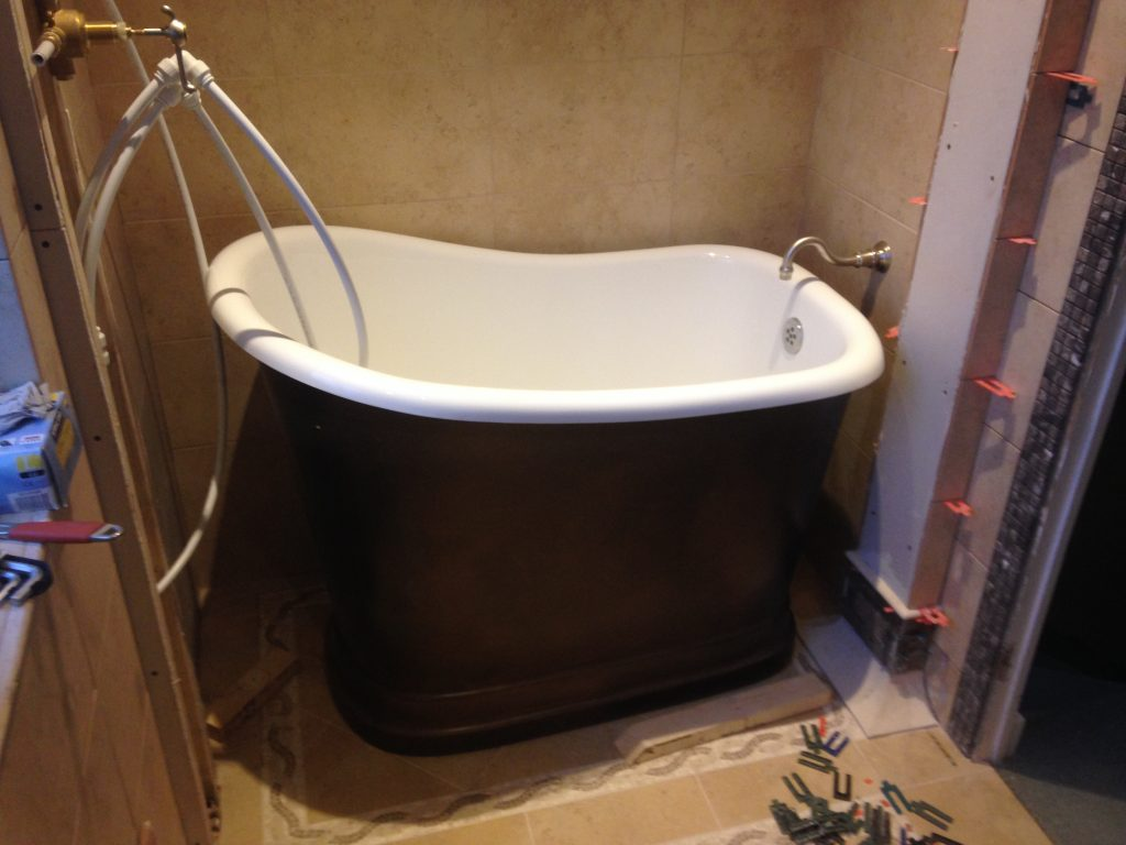 Bath refit in Roman style bathroom