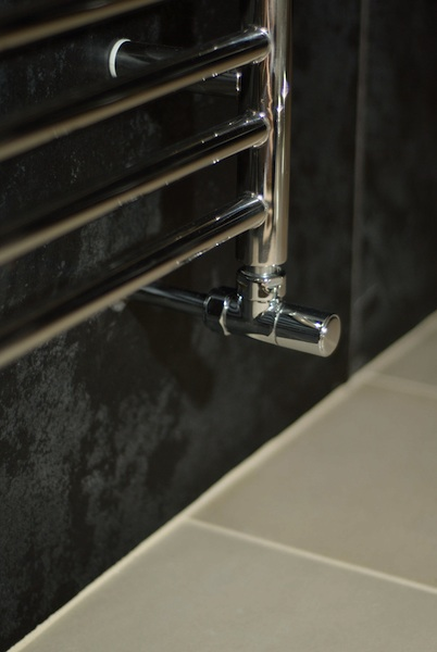 Photo: Close up of heated towel rail